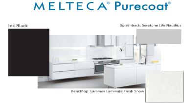 New Zealand made Melteca Purecoat surfaces utilise cutting-edge bathroom accessory, furniture, kitchen, product, product design, table, white
