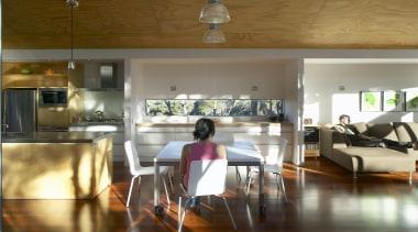 Mangawhai Heads, Northland - Point House - floor floor, flooring, house, interior design, living room, loft, real estate, room, table, brown