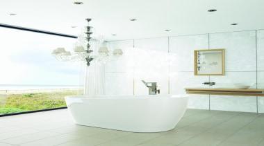 Caroma Blanc Bath: Enjoy a long, luxurious soak? bathroom, bathroom sink, ceramic, floor, interior design, plumbing fixture, product design, room, tap, tile, white
