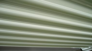 The beautiful 200mm Louvre Blades in an open daylighting, line, material, molding, structure, window covering, gray, green
