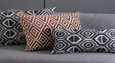 Relaxed and contemporary, Ortega is a decorative collection cushion, pattern, pillow, rectangle, textile, throw pillow, gray, black