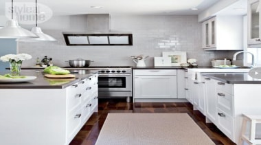 All White Kitchen Design - Industrial meets country cabinetry, countertop, cuisine classique, floor, home appliance, interior design, kitchen, kitchen appliance, kitchen stove, major appliance, room, white, gray
