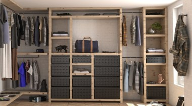 Tanova Ventilated Drawers in Wardrobe Setting - Custom closet, furniture, room, wardrobe, gray, black