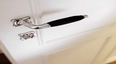 1934, Solid Lever Handle on Rose.Bright Nickel/Ebony Wood door handle, plumbing fixture, product design, tap, white
