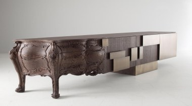 Many pieces of furniture mix traditional design with furniture, sideboard, table, white