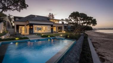 Exterior - estate   home   house   estate, home, house, lighting, mansion, property, real estate, reflection, resort, swimming pool, villa, gray, black