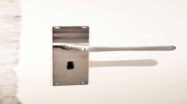 1935, Solid Lever Handle on Plate.Satin Nickel - door handle, hardware accessory, lock, product design, white