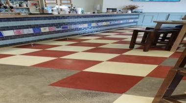 Micro Topping done at Toby Jugg Inn - floor, flooring, hardwood, table, tile, wood