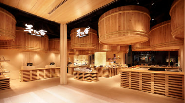 The Kayanoya Shop is a reproduction of a ceiling, interior design, lobby, wood, orange, brown