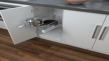 A great, practical way to keep organised in countertop, drawer, floor, furniture, kitchen, product, product design, table, gray, brown