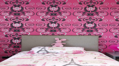 Child's bedroom with pink wallpaper - Child's Room bed sheet, design, interior design, magenta, pattern, petal, pink, purple, textile, wall, wallpaper, pink