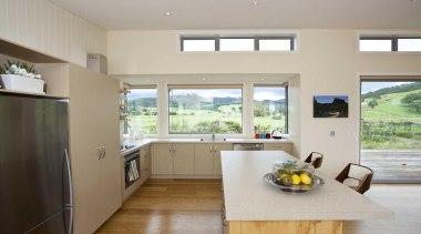 Kitchen contemporary timber flooring - Kitchen - countertop countertop, cuisine classique, house, interior design, kitchen, property, real estate, window, gray