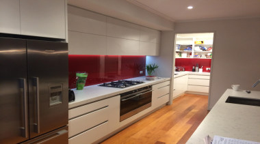 Red Standard Glass Splashback - Whitford - cabinetry cabinetry, countertop, interior design, kitchen, property, real estate, room, gray, brown