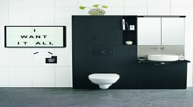 Front - Dekton Sirius 3 - Front - bathroom, bathroom accessory, bathroom cabinet, bathroom sink, plumbing fixture, product, product design, sink, tap, toilet, white, black