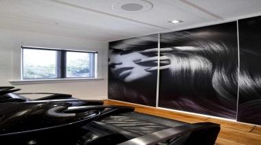 Salon interior design with black leather seats - ceiling, glass, interior design, room, wall, gray, black