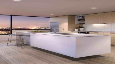 Apartment elevated on the crescent of St Kilda cabinetry, countertop, floor, flooring, interior design, kitchen, gray