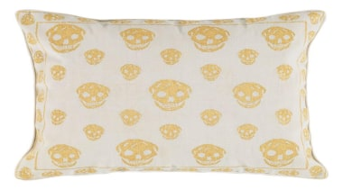 Instantly recognisable as a work of Alexander McQueen, cushion, pattern, pillow, throw pillow, yellow, white
