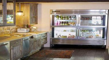 Fridge - cabinetry   furniture   interior design cabinetry, furniture, interior design, kitchen, major appliance, refrigerator, shelving, window, gray