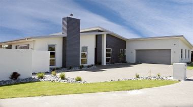 Award winning 'Diaz' design in plaster with Linea building, elevation, estate, facade, home, house, property, real estate, residential area, siding, window, teal