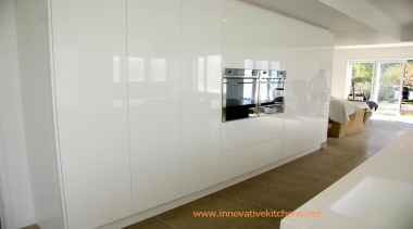 gloss white modern kitchen design - gloss white floor, furniture, interior design, property, real estate, room, wall, gray