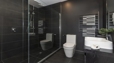 Landmark Homes Fitzroy Design Ensuite - Landmark Homes bathroom, floor, interior design, room, tile, black