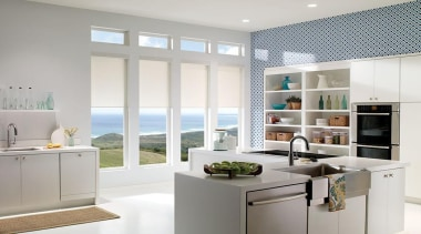 luxaflex qmotion roller blinds - luxaflex qmotion roller countertop, home appliance, interior design, kitchen, window, white, gray
