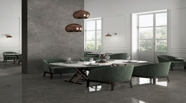 Trilogy Sky Smoke - Trilogy Sky Smoke - floor, flooring, furniture, interior design, table, tile, wall, gray, black