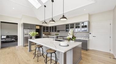 This spectacular kitchen features Haro Oak Markant Permadur countertop, cuisine classique, floor, interior design, kitchen, real estate, room, white
