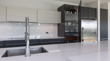Built in dish drainer to the kitchen work countertop, interior design, kitchen, product design, gray