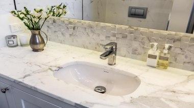 Classic Villa - Classic Villa - bathroom   bathroom, bathroom sink, bathtub, countertop, floor, plumbing fixture, sink, tap, tile, wall, white, gray