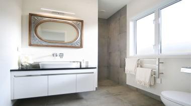 Vanity by Athena (Sirocco Alumino) with Valdama basin. bathroom, bathroom accessory, bathroom cabinet, home, interior design, product design, room, sink, tap, white, gray