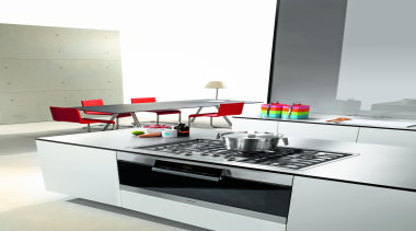 This fun kitchen features a Miele oven!Miele available countertop, furniture, interior design, kitchen, product, product design, table, white, gray