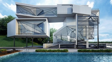 This home was designed for a retired pilot architecture, building, corporate headquarters, facade, home, house, real estate