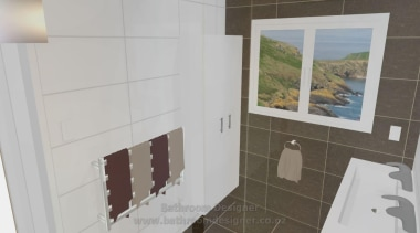 Bathroom Designer. Fully tiled walls showing a feature floor, flooring, home, interior design, property, real estate, room, tile, wall, gray