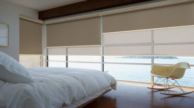 luxaflex roller blinds - luxaflex roller blinds - bed, bed frame, bedroom, curtain, daylighting, door, floor, furniture, home, interior design, mattress, room, shade, window, window blind, window covering, window treatment, wood, gray