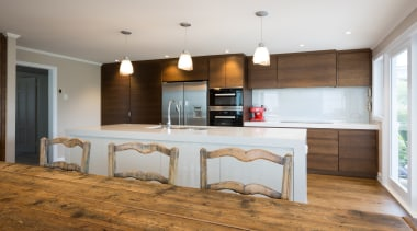 Kitchen/Dining - Kitchen/Dining - countertop | cuisine classique countertop, cuisine classique, floor, flooring, hardwood, interior design, kitchen, real estate, room, wood, wood flooring, gray, brown