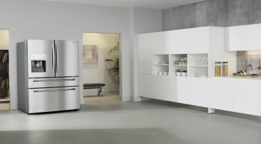 Refrigerator – French door – SRF679SWLSThe new Samsung floor, flooring, furniture, home appliance, interior design, kitchen, kitchen appliance, major appliance, product design, refrigerator, gray