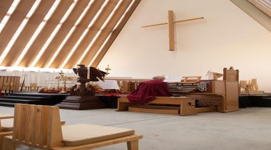 EXCELLENCE AWARDChristchurch Transitional Cathedral (4 of 4) ceiling, furniture, home, interior design, room, table, wood, gray, brown