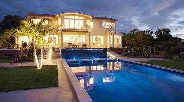 Residential - Residential - backyard | estate | backyard, estate, facade, hacienda, home, hotel, house, leisure, lighting, mansion, property, real estate, residential area, resort, swimming pool, villa, blue