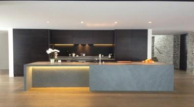 Sandstone island top and benchtops. As designed byLucid countertop, floor, flooring, interior design, kitchen, gray