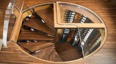 Modern Wine Cellar Ideas - Modern Wine Cellar stairs, wood, brown, orange