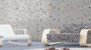For more information, please visit Casa Italiana chair, couch, floor, furniture, interior design, living room, pattern, product design, wall, wallpaper, gray