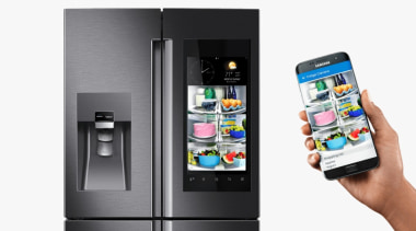 The smart fridge is a must-have smart home communication device, electronic device, electronics, feature phone, gadget, home appliance, kitchen appliance, major appliance, mobile device, mobile phone, multimedia, product, refrigerator, small appliance, smartphone, technology, telephony, white
