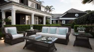 Outdoor living - Outdoor living - backyard   backyard, courtyard, estate, furniture, home, house, interior design, living room, luxury vehicle, outdoor structure, patio, property, real estate, black, gray