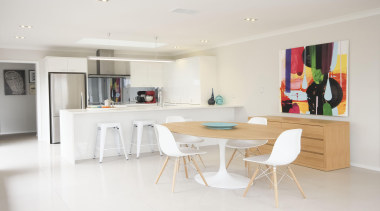 Dining area Lincoln showhomeFor more information, please visit floor, furniture, interior design, kitchen, product design, property, real estate, room, table, white