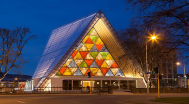 EXCELLENCE AWARDChristchurch Transitional Cathedral (1 of 4) architecture, building, christmas tree, corporate headquarters, facade, landmark, lighting, metropolis, mixed use, night, sky, tourist attraction, tree, blue, brown
