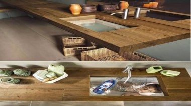 wood and glass - transparent sink - floor floor, furniture, product design, table, wood, brown