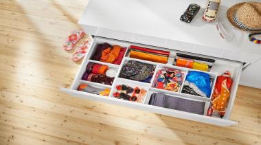 AMBIA-LINE inner dividing system – organization at its furniture, product, shelf, shelving, white, orange