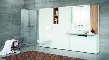 Front - Dekton Sirocco 2 - Front - bathroom, bathroom accessory, bathroom cabinet, floor, interior design, plumbing fixture, product design, room, tap, tile, white, gray