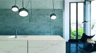 Caesarstone's interpretation of Statuario marble; Statuario Nuvo brings bathroom, floor, glass, interior design, light fixture, lighting, plumbing fixture, product design, sink, tap, tile, wall, teal, white